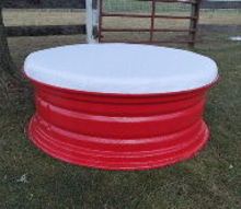 repurpose ottomans tractor tire rim, diy, painted furniture, repurposing upcycling, reupholster