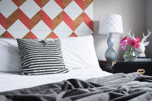 diy headboard uo knock off wood budget, bedroom ideas, diy, how to, repurposing upcycling, woodworking projects, The Weathered Door Coral Geometric Headboard