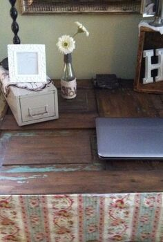 upcycling an old door to a desk, painted furniture, repurposing upcycling, Not much paint survived but what did has given this desk a nice chippy look There s that 2 card file