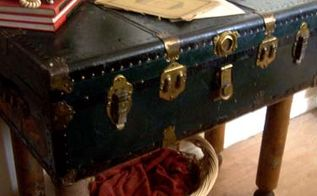 repurposing trunks one of my favourite things to do, painted furniture, repurposing upcycling, rustic furniture, The leggy Little Trunk Table Ideal for the front entry Store your seasonal clothes mittens toques scarves and more and have a great table top for everything else for the rest of the season