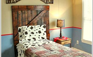 diy headboard made from old wood, bedroom ideas, home decor, repurposing upcycling, woodworking projects, Now ain t that just a cute little headboard for my little cowpoke friend Easy tutorial