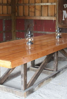 12 reclaimed barn wood trestle table, diy, woodworking projects, Barn Trestle Table Finished and In the barn