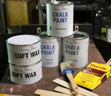 trying annie sloan chalk paint for the first time, chalk paint, painted furniture, This is what I bought Duck Egg Blue French Linen and Old White clear wax and dark wax a waxing brush and a Purdy paint brush