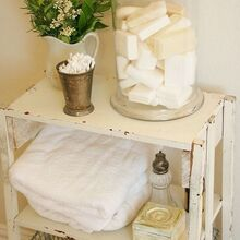 making toiletries part of your bathroom decor, bathroom ideas, cleaning tips, home decor, Master Bathroomhttp farmhouseporch blogspot com