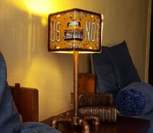 diy license plate lamp, crafts, lighting, repurposing upcycling, License Plate Lamp