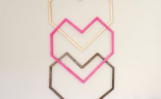 geometric heart diy wall art with popsicle sticks, crafts, seasonal holiday decor, valentines day ideas, wall decor