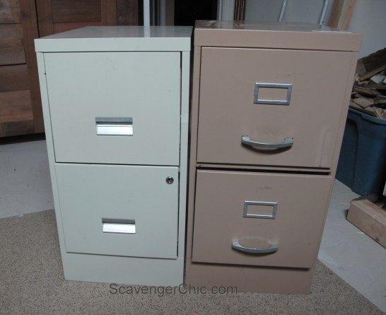 Mismatched metal file cabinets get a makeover hometalk for Diy home office cabinets