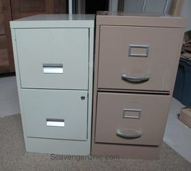 mismatched metal file cabinets get a makeover diy home office painted furniture