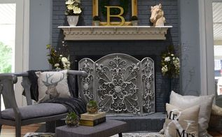painted brick fireplace farmhouse inspiration, chalk paint, fireplaces mantels, painted furniture