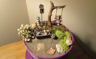 how to make a fairy garden patio, container gardening, crafts, gardening, repurposing upcycling