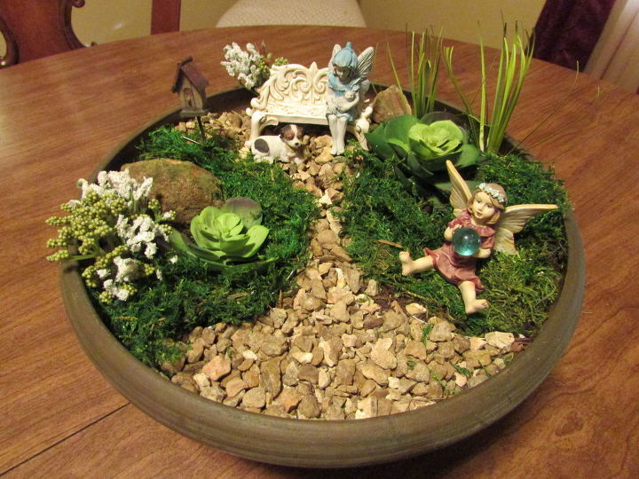 How to make a fairy garden using pea gravel hometalk for How to make a fairy garden container