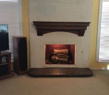 just installed new mantel, fireplaces mantels, View without fire screen