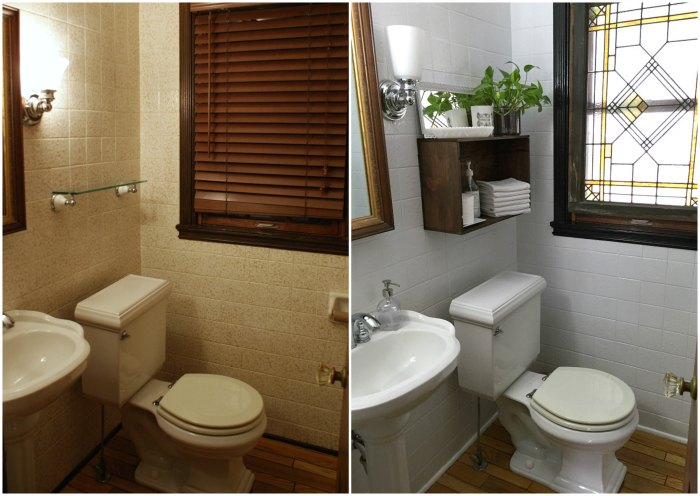 Updating The Powder Room With Painted Tile Bathroom Ideas Diy Tiling Wall