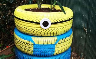 how to reuse old tyres making a minion planter, container gardening, gardening, outdoor living, repurposing upcycling