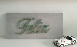 diy birthday gift a string wall art name, crafts, wall decor