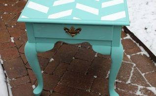 herringbone end table makeover, chalk paint, painted furniture