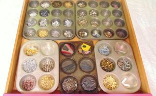 repurposed muffin pan drawer organizers, craft rooms, organizing, repurposing upcycling, storage ideas