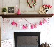 valentine s day mantel diy tissue garland, crafts, fireplaces mantels, seasonal holiday decor, valentines day ideas