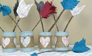 reuse old tin cans to create valentine s decor, crafts, repurposing upcycling, seasonal holiday decor, valentines day ideas