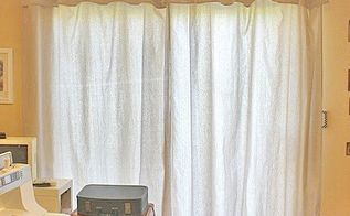 no sew drop cloth drapes with a faux valance can t get any easier, window treatments, windows