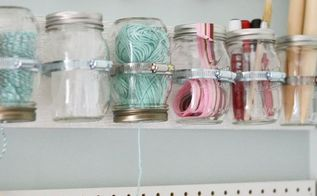hanging mason jar craft supply storage, crafts, mason jars, organizing, storage ideas