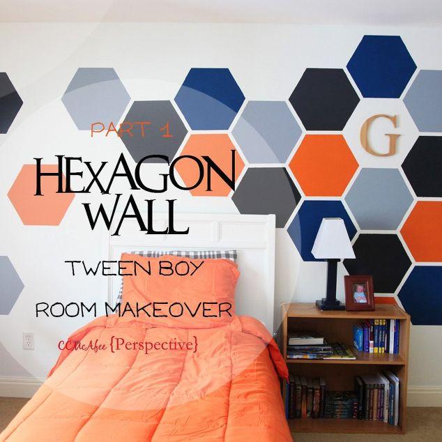 Hexagon Wall - Tween Boy Room Focal Wall