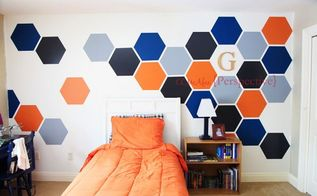 hexagon wall tween boy room focal wall, bedroom ideas, diy, painting