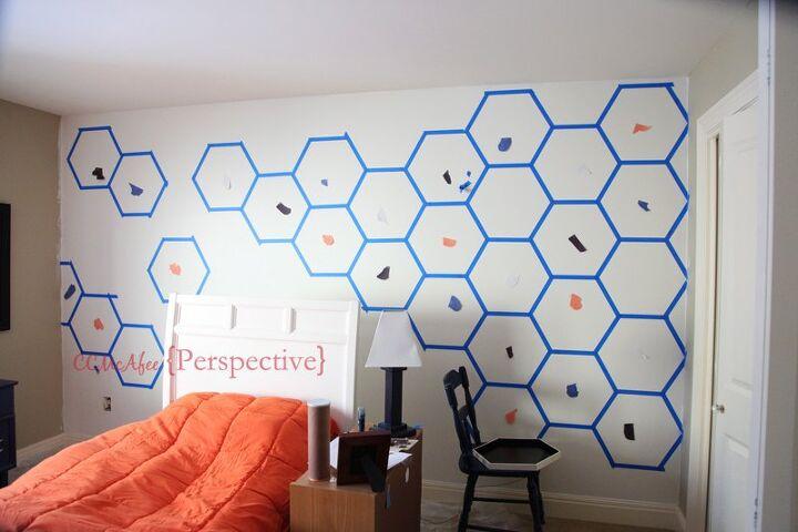 hexagon wall tween boy room focal wall bedroom ideas diy painting