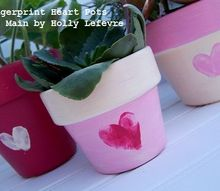 painted fingerprint heart pots, container gardening, crafts, gardening, seasonal holiday decor, valentines day ideas