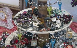 steampunk jewelry stand, crafts, organizing, repurposing upcycling, storage ideas