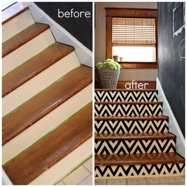 Diy Stair Treads Out Of Flor Tiles: DIY Chevron Painted Stairs
