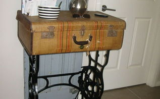 old sterling treadle sewing machine revamped to hall table, painted furniture, repurposing upcycling
