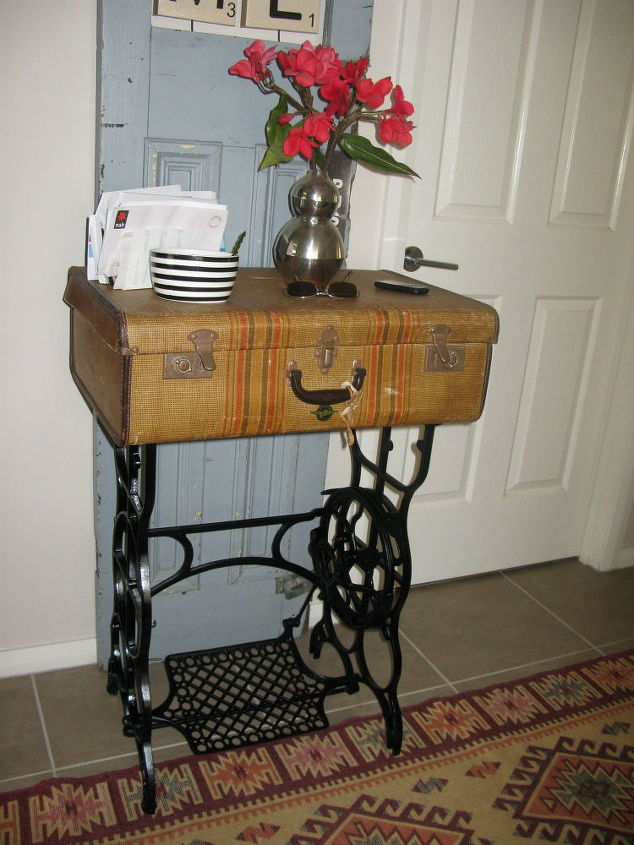 Old sterling treadle sewing machine revamped to hall table hometalk - Four ways to repurpose an old sewing machine ...