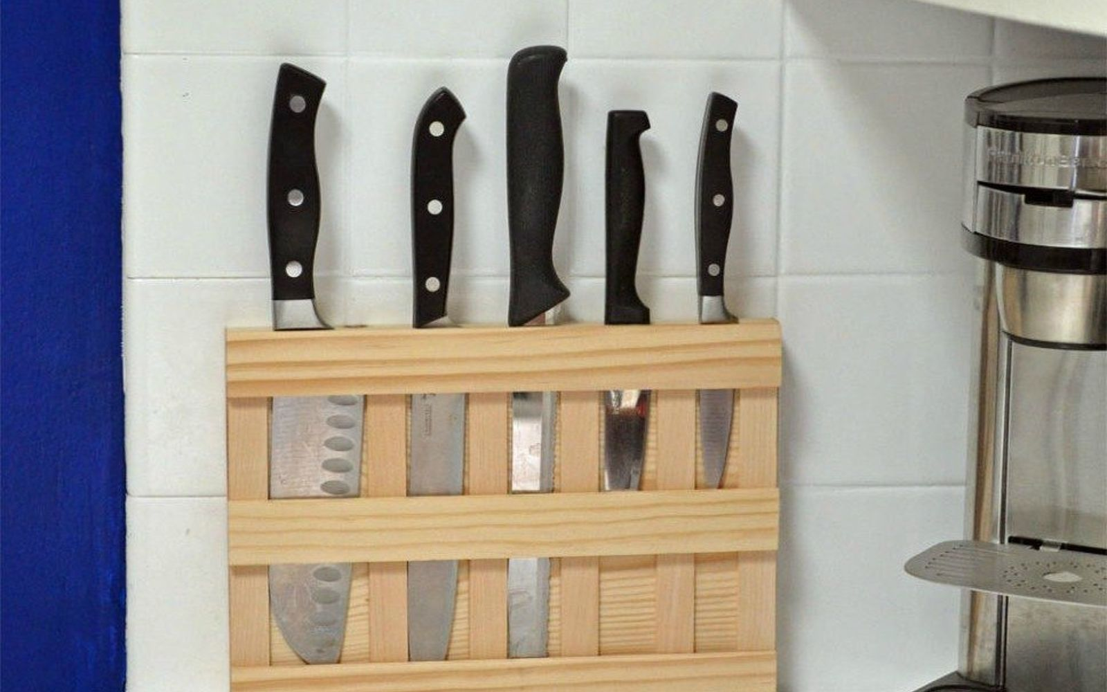s 17 little known ways to use your wasted wall space, organizing, storage ideas, wall decor, Mount a knife rack near the counter