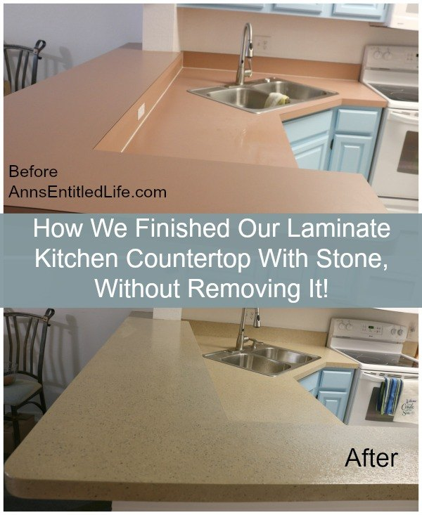 Refinished A Laminate Kitchen Countertop With Stone Without Removing Concrete Masonry Countertops Diy