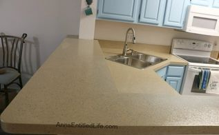 refinished a laminate kitchen countertop with stone without removing, concrete masonry, countertops, diy, kitchen design