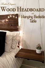 rustic headboard with hanging bedside table, bedroom ideas, diy, painted furniture, rustic furniture, woodworking projects