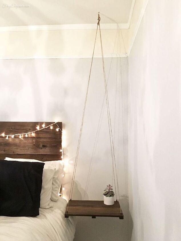 rustic headboard with hanging bedside table, bedroom ideas, diy, painted  furniture, rustic - Rustic Headboard With Hanging Bedside Table Hometalk