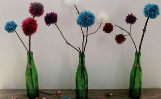 diy pom pom twig bouquets, crafts
