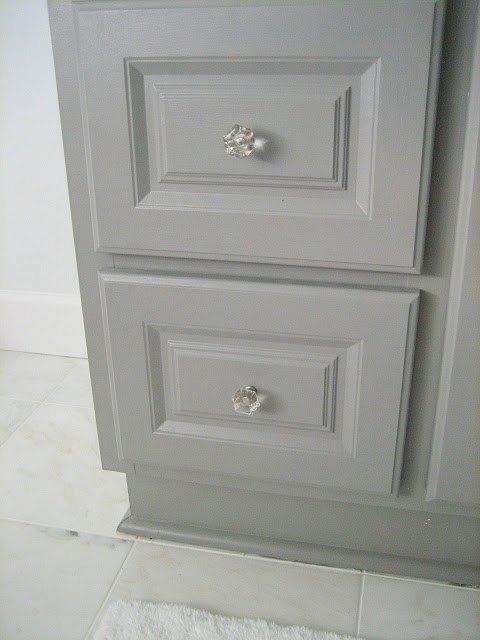 diy custom gray painted bathroom vanity from a builder grade cabinet