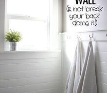 planked bathroom wall, bathroom ideas, wall decor, woodworking projects