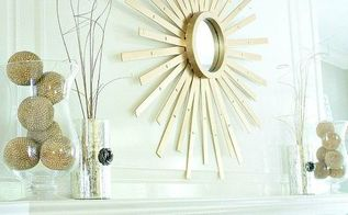 sunburst mirror made from thrift store mini blind, repurposing upcycling, wall decor