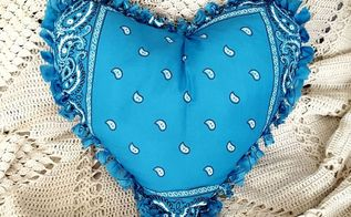 easy no sew bandana heart pillow, crafts, seasonal holiday decor, valentines day ideas