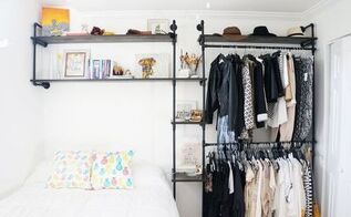 diy full wall industrial piping shelves, repurposing upcycling, shelving ideas