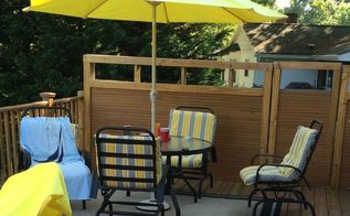 updating deck furniture diylikeaboss, outdoor furniture, painted furniture, Painted patio set and rug