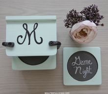 thrift item upcycled into family night themed coasters, chalkboard paint, crafts, repurposing upcycling