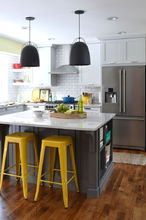 white with pops of color kitchen makeover, diy, kitchen backsplash, kitchen cabinets, kitchen design, paint colors, shelving ideas