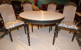 diningroom set redo, chalk paint, painted furniture, reupholster