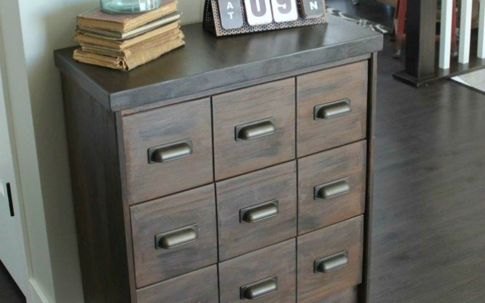 s we couldn t believe these started as ikea rasts, painted furniture, repurposing upcycling, Rich Rolling Apothecary Cabinet