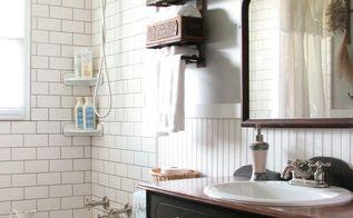 budget friendly farmhouse bathroom remodel reveal, bathroom ideas, painted furniture, repurposing upcycling, small bathroom ideas